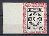 1971 STRIKE MAIL OSBORNE BELMONT & SUTTON POST 10p IMP BLACK & RED ON WHITE MNHa