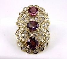 Fine 3 Stone Cluster Pink Spinel & Diamond Ring 14k Yellow Gold 8.49Ct