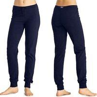 EVERLAST pantalone da donna taglia M sport stretch in jersey joggers blu polsino