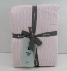 West Elm Organic Washed Cotton Double Stripe Sheet Set King Pink #9746