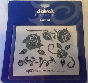 CLAIRE'S Cosmetics Body Art - GLITTER TEMPORARY TATTOOS - Flowers Roses - NEW!