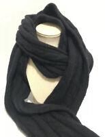 Vintage Pendleton Lambs Wool Angora Rabbit Nylon Scarf Cable Knit Sweater Black