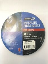 5 x METALITE FIBRE DISCS FOR METAL P24  (PACKS OF 5) 125 MM X 22 MM -NORTON
