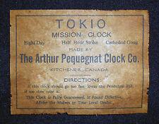 ANTIQUE CLOCK  PEQUEGNAT MISSION or MANTLE LABEL parts ADD A NAME