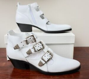 RUSSELL & BROMLEY White Leather Buckle HOLSTER  Boots, BNIB, Size EU 39 / UK 6