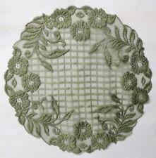 "Stunning  Heritage Lace Rose Trellis Sage Green 20"" round  Lace Doily"