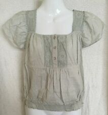 BNWT Pale Blue MISS SELFRIDGE 100% Cotton Gypsy Top Size 10