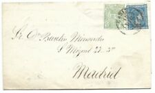 Spain: 1875; Cover, with War Tax stamp, to Madrid, EBES025