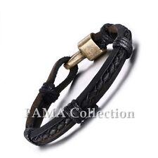 Stylish FAMA Black Bracelet with Double Leather Strap & Braided Leather Centre