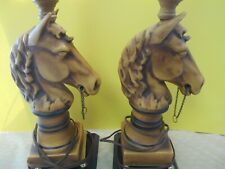 Pair of Vintage Lamps Horse Head Figure Ceramic Wood Different Brown Shades