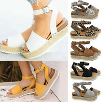 Women Flat Platform Peep Toe Sandals Espadrilles Summer Ankle Strap Pumps Shoes