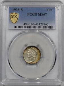 1935-S MERCURY DIME - PCGS MS-67, SUPERB!