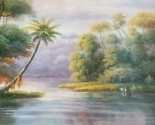 "Oil Painting  Handmade on Canvas  Beautiful Landscape 48""x72"" Inches"