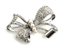 Vintage Mikimoto Sterling Silver & Pearl Ornate Diamond Cut Bow Brooch