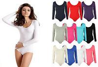 L101 Womens Ladies Scoop Neck Bodysuit Long Sleeve Leotard Plain Stretch Basic