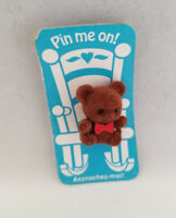 Vintage 1980's ACCROCHEZ-MOI! Fuzzy Bear Pin Brooch Christmas Pin me on!