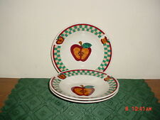 """3-PC TABLETOPS UNLIMITED """"A"""" IS FOR APPLE 9"""" SOUP BOWLS/WHT-RED-GRN/FREE SHIP!"""