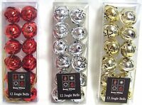 Jingle Bells Xmas Christmas Tree Hanging Baubles Decoration Silver/Red/Gold 4Cm