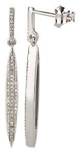 Ohrstecker 375 Gold Weißgold 0,15 ct Diamanten Brillant Hänge-Ohrringe Stab oval