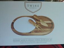 Twine Living Co. Gourmet Wood and Ceramic Cheese Board Gift Set New in Box