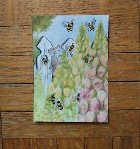 "ACEO ORIGINAL ""BEE WATCHING"" RKS Art studios MOUSE ERNIE'S JOURNIES FOXGLOVE"