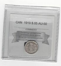 **1919**,Coin Mart Graded Canadian,  5 Cent, **AU-50**