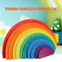 11Pcs Educational Wooden Rainbow Puzzle Game Blocks Toys for Baby Toddler v  D2