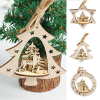 FJ- EG_ Christmas Tree Star Shaped Wooden Xmas Party Hanging Pendant Decoration