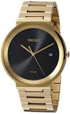 Seiko Men's Analog Solar Powered Gold Tone Stainless Steel Watch SNE482