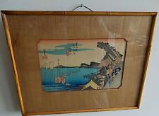 ANTIQUE JAPANESE WOODBLOCK COLORED PRINTS FRAMED UNDERGLASS WOOD MATTE SIGNED