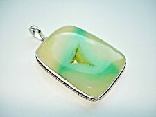 AB One-of-a-Kind Lime Green Drusy Quartz Geode Botswana Agate Silver Pendant 2.5
