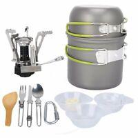 Portable Gas Camping Stove Butane Propane Burner Outdoor Hiking Picnic+ Cookware