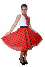 Ladies Pink White Red Polka Dot Rock & Roll Poodle Skirt & Scarf 50's Style 8-16