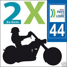 2 stickers autocollants style plaque immatriculation moto Département  44