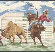 Wallpaper Border Western Cowboys Broncos Roping