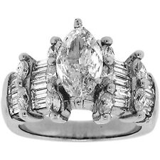 3.32ct MARQUISE & BAGUETTE Diamond Wedding Engagement Ring in 14K White Gold