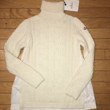 NEW $740 Moncler Natu Knit Wool/Cashmere Ivory Turtleneck Sweater, Size L