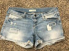 Guess Denim Shorts Sz 29 Stretch Cut-off Low Rise Patches