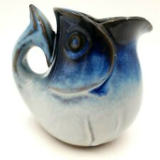 Peter Pots Pottery Cod Fish Creamer Seagull Blue Vintage 1980's
