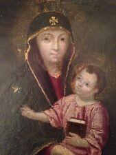Miniature XVIIIe XIXe Portrait Vierge à l'enfant Huile sur carton Orthodoxe