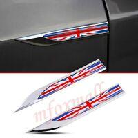 2X Auto Fender Accessories Garnish 3D Decal Sticker Emblem Badge English UK Flag