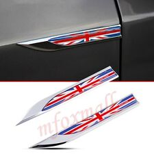 2X Auto Fender Accessories Garnish 3D Decal Sticker Emblem Badge English UK Flag