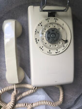 VINTAGE WORKING WESTERN ELECTRIC ROTARY DIAL BEIGE WALL TELEPHONE Almond