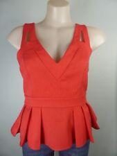$9.95 TOP SALE! pink orange Strappy Peplum tailored casual corporate top sz 10