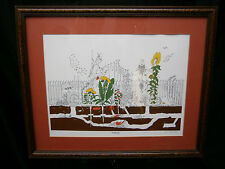 Framed Print Gardening Bruce Johnson Signed by Artist Matted Framed sunflowers