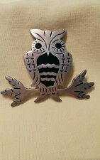 Vintage Taxco Mexico 925 Sterling Silver Enameled Owl on a Branch; Pin/Brooch