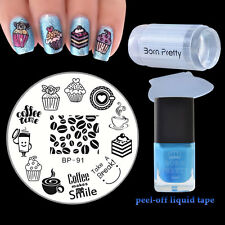 Cake Nail Art Stamping Plate Peel Off Liquid Tape Stamper Manicure Template Set