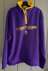 NFL Reebok MN Vikings long sleeve Sweater 1/4 zip New Large Men's