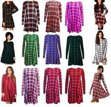 Womens Lilac Tartan Check  Print Long Sleeve Skater Swing Dress Plus Size  8-28
