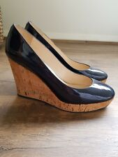 YSL navy blue patent leather round toe platform pump cork wedge heels 39 Spain
